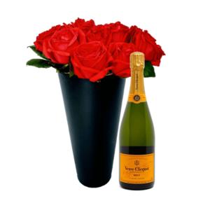 caixa-cone-rosas-champagne-veuve-clicquot